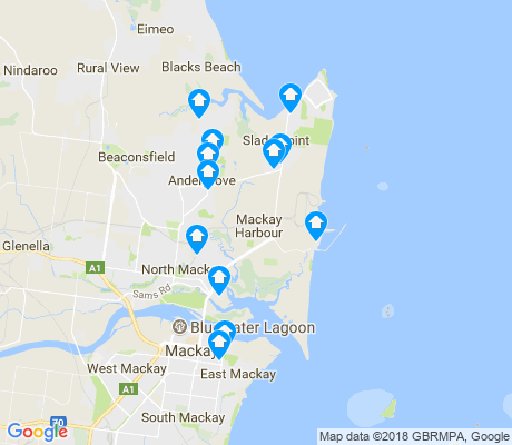 map of Mackay Harbour apartments for rent