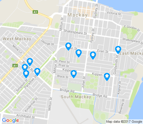 map of South Mackay apartments for rent
