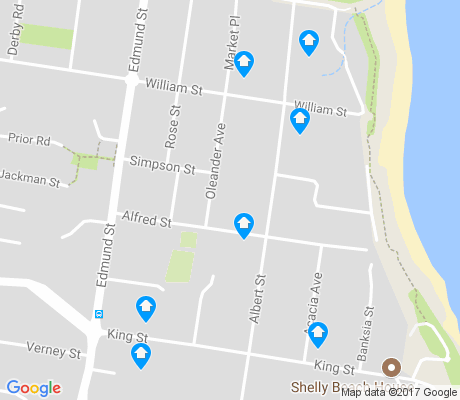 map of Shelly Beach apartments for rent