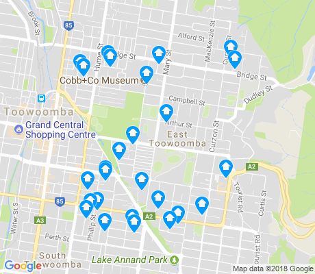 map of East Toowoomba apartments for rent