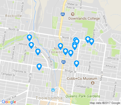 map of North Toowoomba apartments for rent