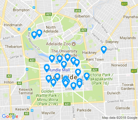 map of Adelaide apartments for rent