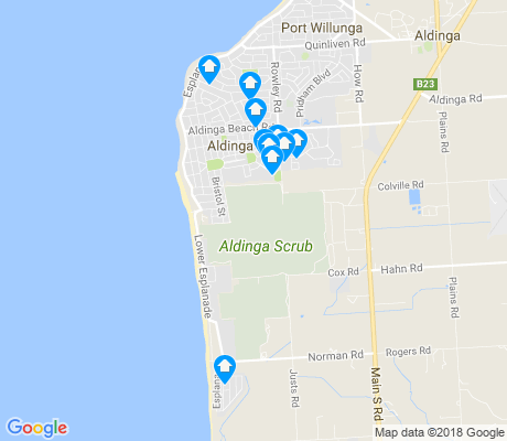 map of Aldinga Beach apartments for rent