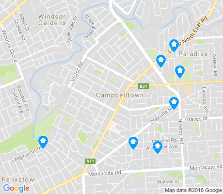 map of Campbelltown apartments for rent