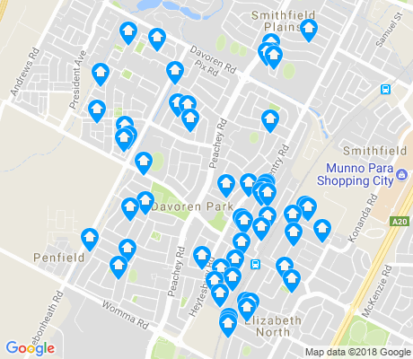 map of Davoren Park apartments for rent