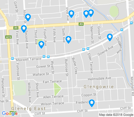 map of Glenelg East apartments for rent