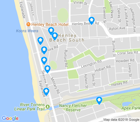 map of Henley Beach South apartments for rent