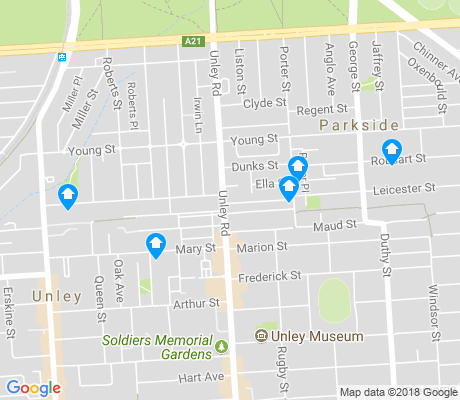 map of Unley apartments for rent