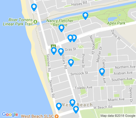 map of West Beach apartments for rent
