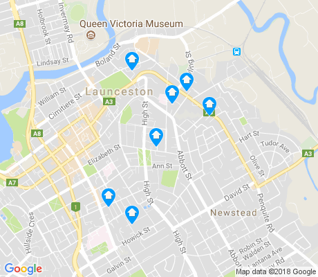 map of East Launceston apartments for rent