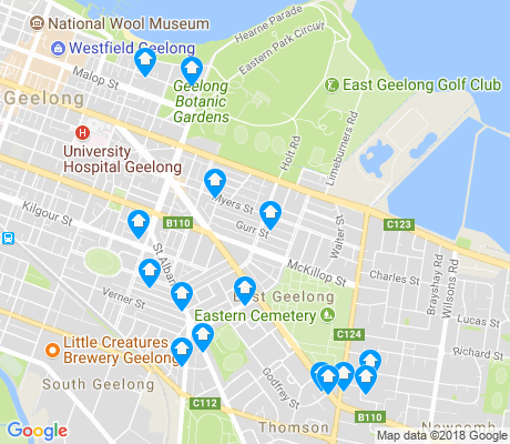 map of East Geelong apartments for rent