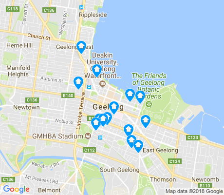 map of Geelong apartments for rent