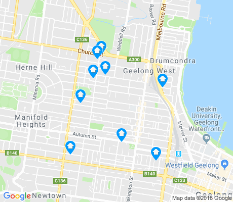 map of Geelong West apartments for rent