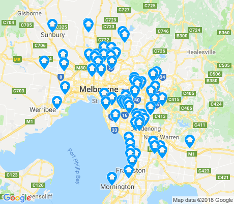 map of Melbourne apartments for rent