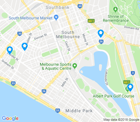 map of Albert Park apartments for rent