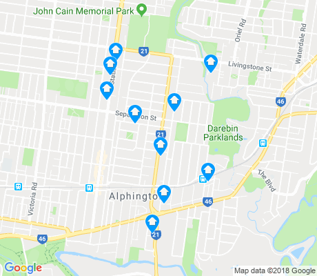 map of Alphington apartments for rent