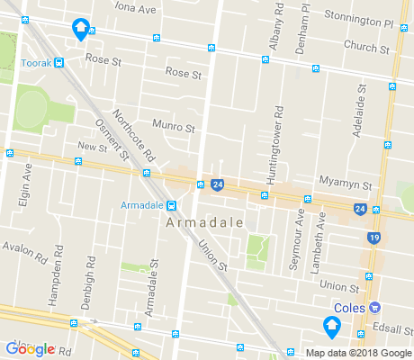 map of Armadale apartments for rent