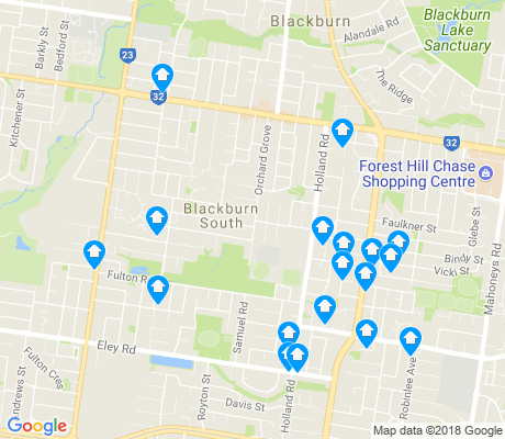 map of Blackburn South apartments for rent