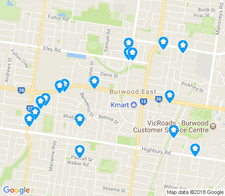 map of Burwood East apartments for rent