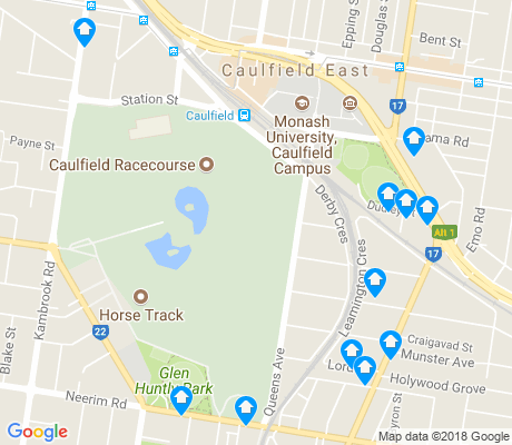 map of Caulfield East apartments for rent