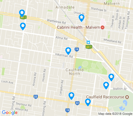 map of Caulfield North apartments for rent