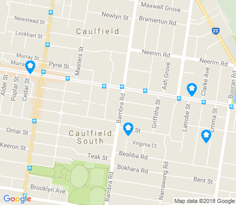 map of Caulfield South apartments for rent