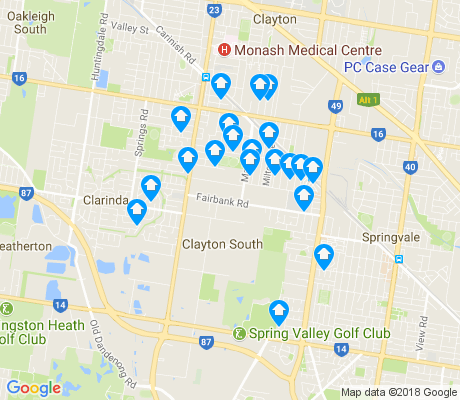 map of Clayton South apartments for rent