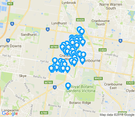 map of Cranbourne West apartments for rent