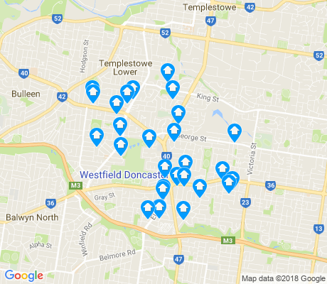 map of Doncaster apartments for rent