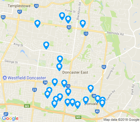 map of Doncaster East apartments for rent