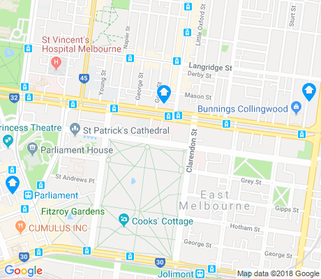 map of East Melbourne apartments for rent