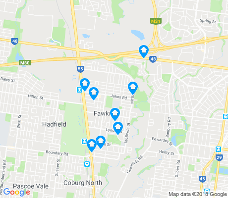 map of Fawkner apartments for rent