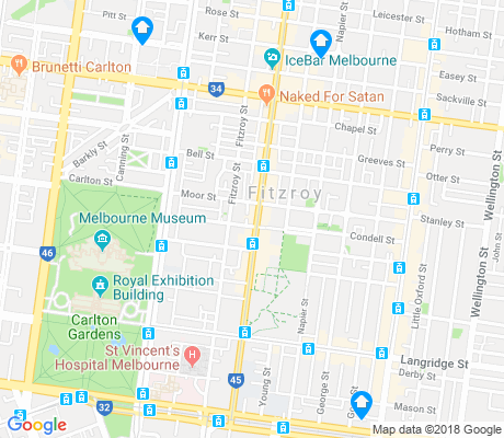 map of Fitzroy apartments for rent