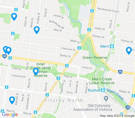 map of Fitzroy North apartments for rent