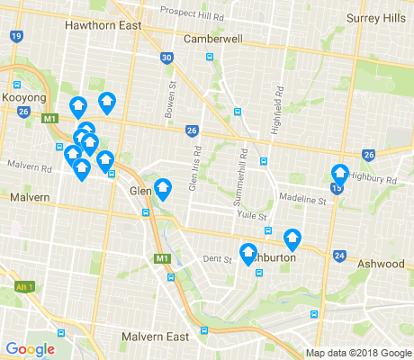 map of Glen Iris apartments for rent