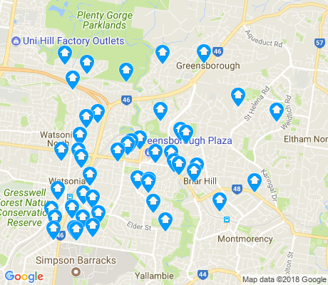 map of Greensborough apartments for rent