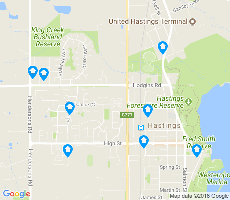 map of Hastings apartments for rent