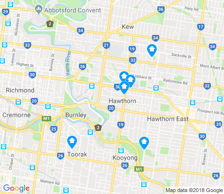 map of Hawthorn apartments for rent