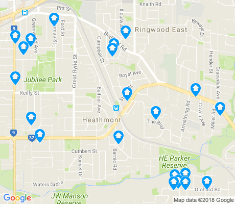 map of Heathmont apartments for rent