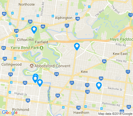 map of Kew apartments for rent