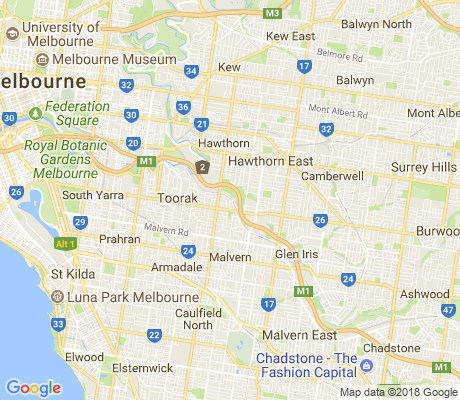 map of Kooyong apartments for rent