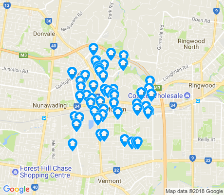map of Mitcham apartments for rent