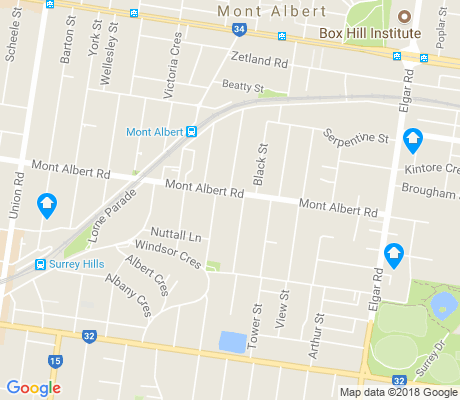 map of Mont Albert apartments for rent