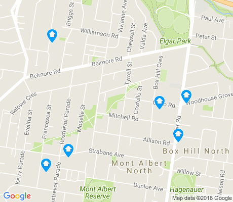 map of Mont Albert North apartments for rent