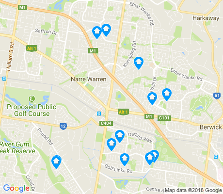 map of Narre Warren apartments for rent