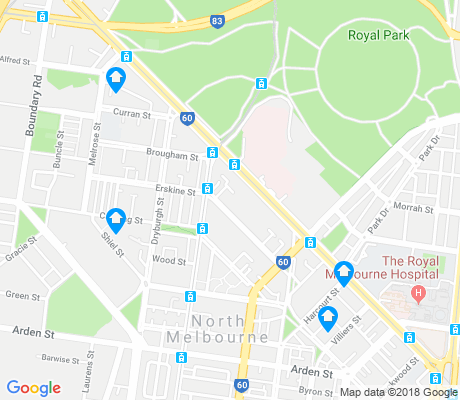 map of North Melbourne apartments for rent
