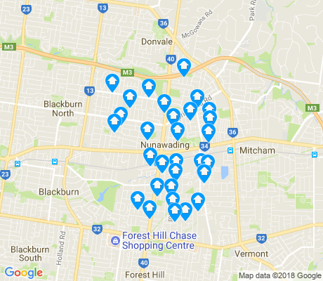 map of Nunawading apartments for rent
