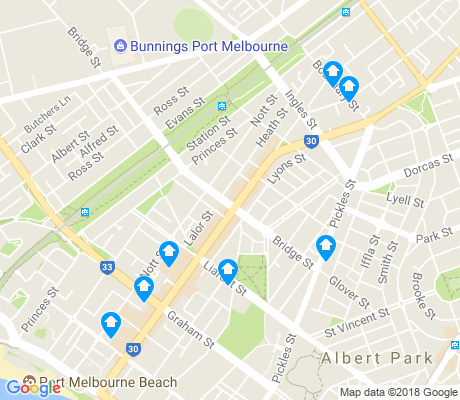 map of Port Melbourne apartments for rent