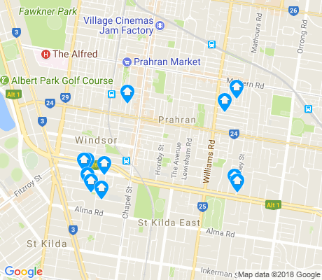 map of Prahran apartments for rent