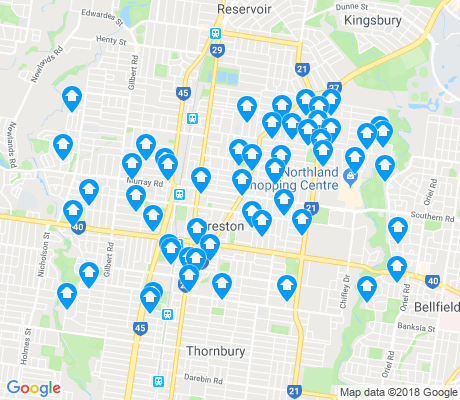 map of Preston apartments for rent
